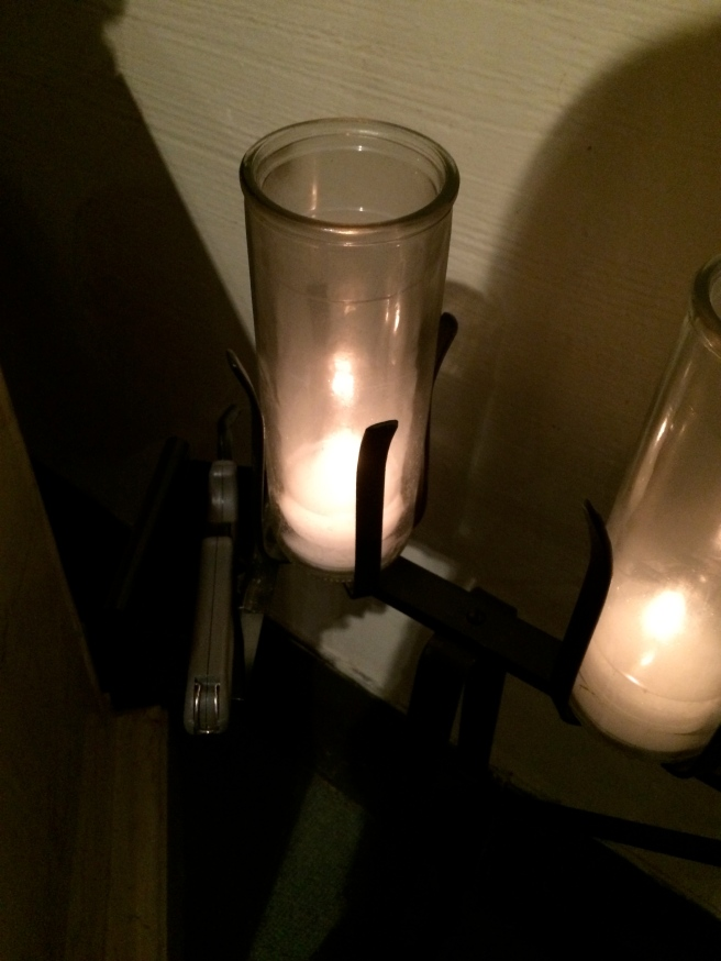 Emmett's candle, in St. Therese's corner at church.