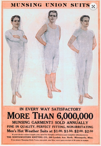 A man's underwear was a serious garment. Source: Vintage Skivvies and Hampton's Magazine.