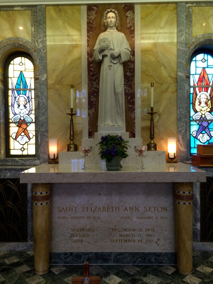 St. Elizabeth Ann Seton. This is a small altar on the right side of the basilica, with her relics.