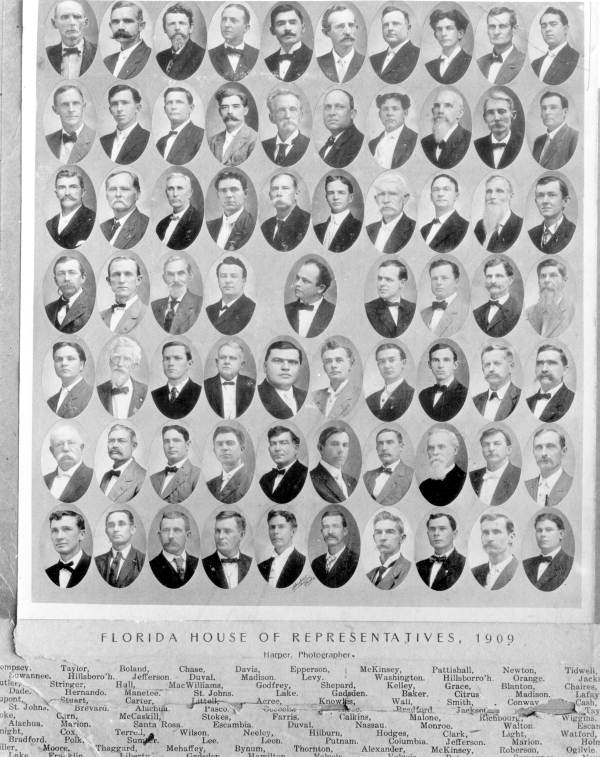 Members of the 1909 House of Representatives, Tallahassee, Florida. Source: State Archives of Florida, Florida Memory