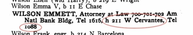 Emmett's 'home address' is actually the Kehoe's address. Also, that's the Kehoe's phone number. Emmett didn't have his own, separate line. Source: Ancestry.com