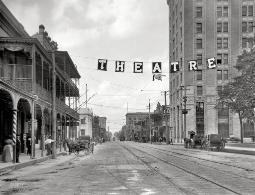 American National Bank Building, the tallest structure in Pensacola for many years, on the right. Emmett's office was on the 7th floor, facing Palafox and the Customs House, which was right across the street. Source: Shorpy.com