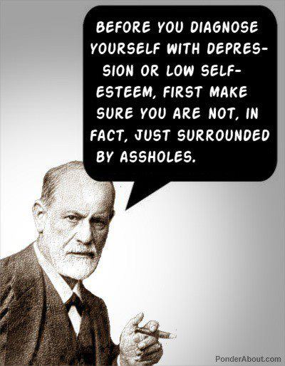 A depressed narcissist? Maybe. Freud knew best. Source: Facebook