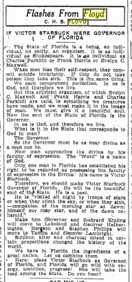 A typical Floydism from The Tampa Tribune, June 1, 1914. Source: GenealogyBank.com