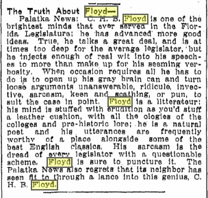 The Truth About Floyd, from The Tampa Tribune, July 3 1914. Source: GenealogyBank.com
