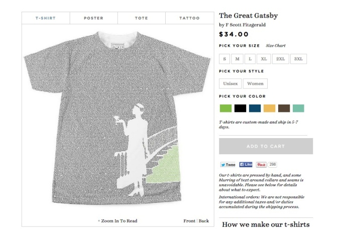 The Great Gatsby by F. Scott Fitzgerald -- readable on a t-shirt! Source: www.litographs.com