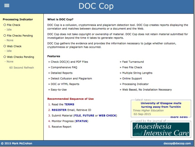 Doc Cop, one of the free plagiarism checking programs available (and one that my students use to check their work). Source: www.doccop.com