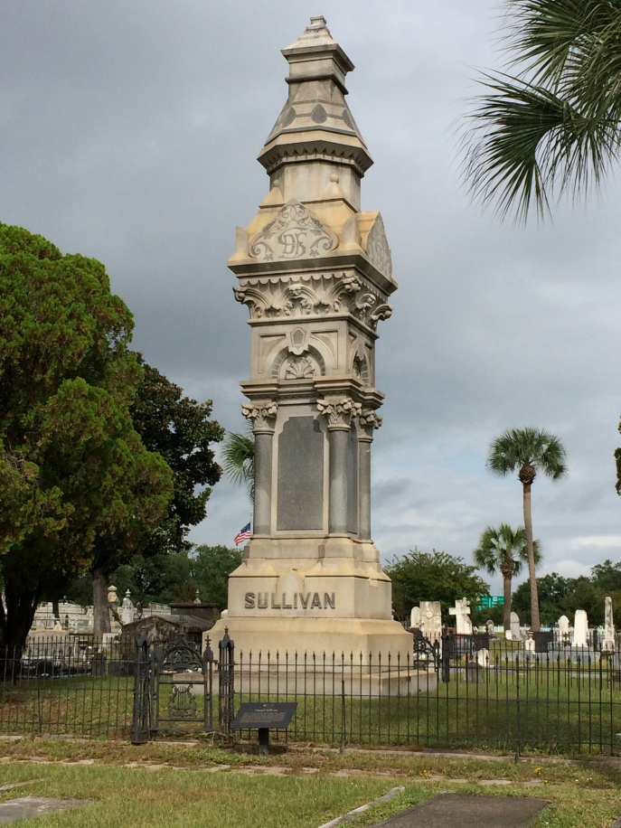 This is Daniel F. Sullivan, who 'gave Pensacola the First National Bank and the Opera House, according to the Daily Register of Mobile, Alabama. He died in 1884. It isn't stated clearly if he is related to the other Sullivans of the masoleum, but he was also big into timber, and originally from Ireland. They could be related. I haven't determined it yet.