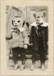 Papier mache animal masks or clown masks were popular. Source: pinterest.com
