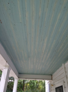 The ceiling of the back porch to the former kitchen.
