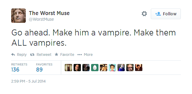Writing advice courtesy of The Worst Muse. This is hilarious. Source: