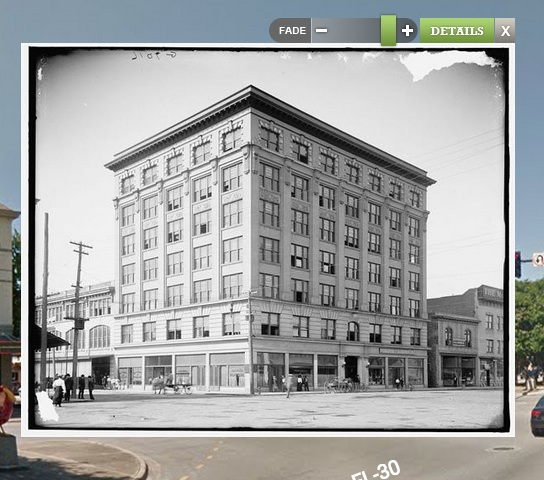 The Blount Building, then and now. Source: What Was There
