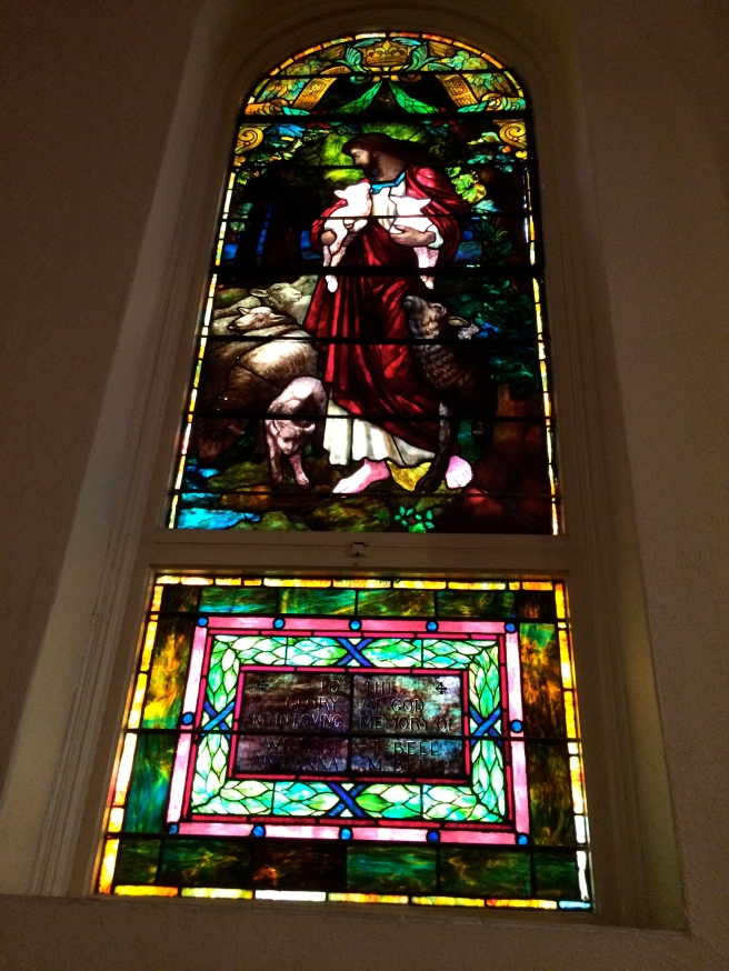 Not a great photo, but a beautifully moving stained glass window. I wonder if Emmett liked it, too.