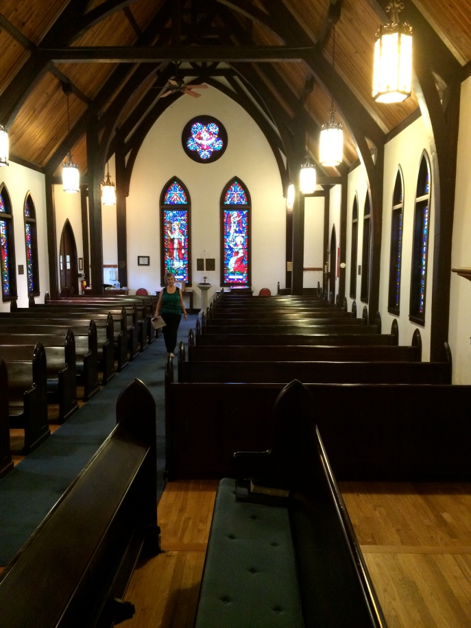 Sue exploring historic St. Luke's Episcopal Church in Marianna. Cephas is buried in the cemetery behind the church.