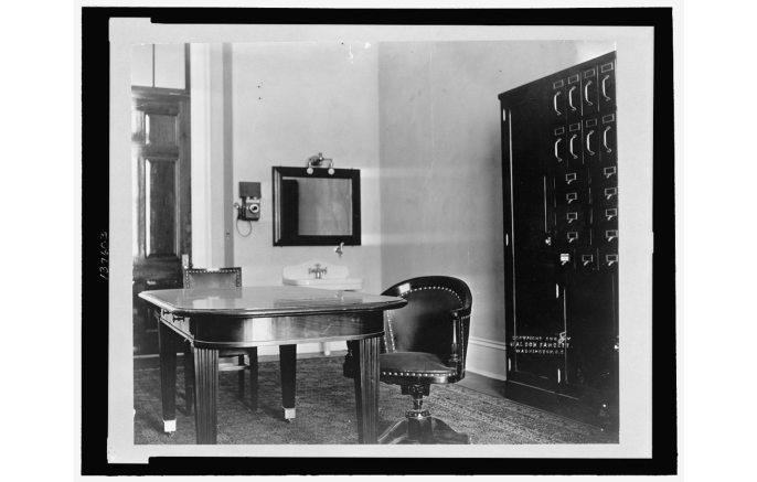The office averaged 15x23 feet. Check out the sink right there in the office, which is right next to your phone. Source: history.house.gov