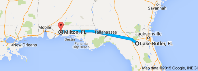 Distance between Milton and Lake Butler, Florida: 308 miles. Today, 4 hours one way. In Emmett's day, about 10 hours one way. Source: Google maps