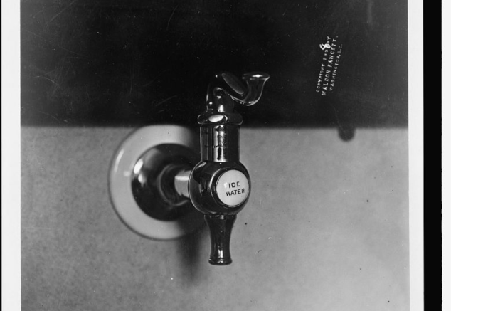 Right in the center of the sink, which is conveniently located by your office door, is an ice water spigot. Source: www.loc.gov