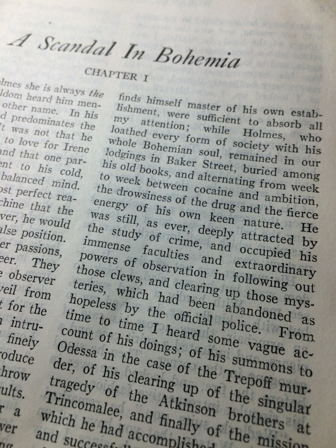 "Excerpt from ""A Scandal in Bohemia,"" describing Holmes' addiction to morphine."