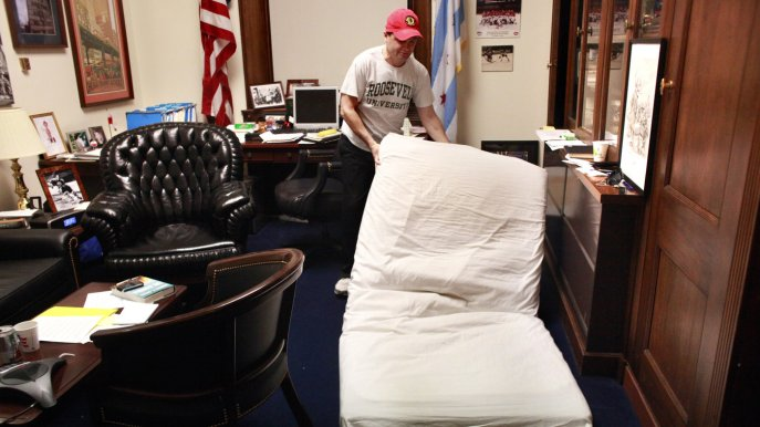 Lawmakers sleeping on the job? Staying up all night for their constituents? As if! Source: NPR via MCT via Getty Images.