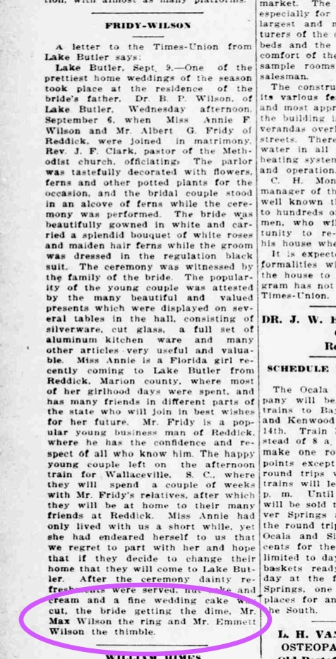 Emmett Wilson got the thimble...very interesting, considering he just got 'engaged.' LOL. Source: Ocala Evening Star, September 15, 1911