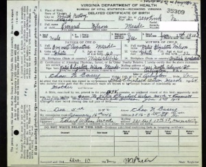 Everard's delayed birth certificate. If you look midway in the document, there's reference to a family Bible as proof of his birth. Source: Ancestry.com