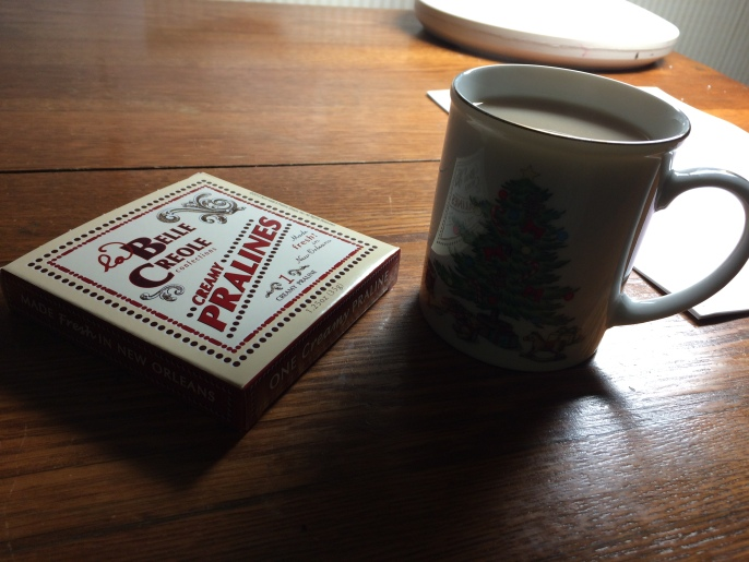 A good old New Orleans praline and a cup of tea.