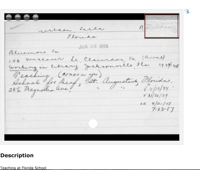 Lalla's local contact and sponsor was her Aunt who lived in Clarendon -- that would be Katie Wilson Meade! Source: Gallaudet Archives