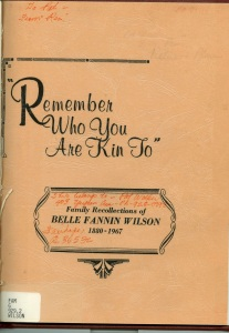 Belle Fannin Wilson's genealogy. The original document is in the archival holdings at the Miami-Dade Library.