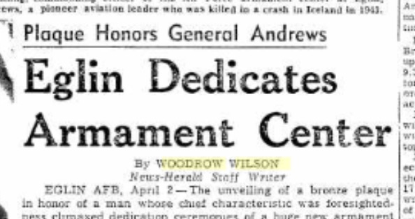 Woodrow's byline. April 3, 1954. Source: Panama City News