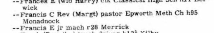 The Rev. FCW and Margaret Wilson, living at the same address as Theodore Jungas. Source: Ancestry.com