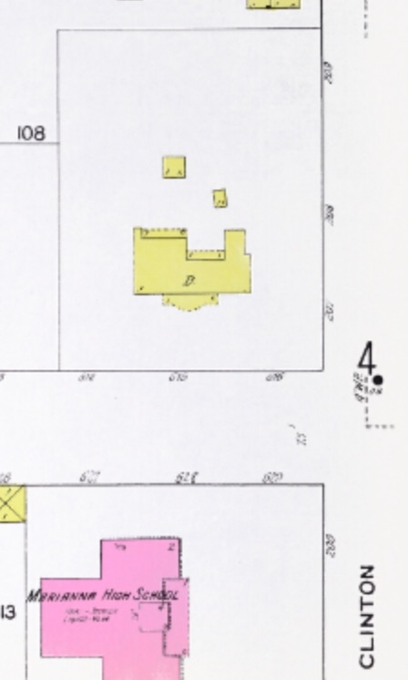 Cephas' house, which was located at the corner of Jefferson and Clinton, in Marianna, Florida. Source: Sanborn Fire Insurance Map, 1913, from the University of Florida archives.