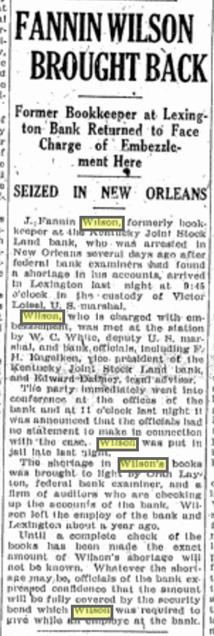 Dec 13, 1926 edition of the Lexington Herald. Fannin spent Christmas at the big house instead of Belle's house. Source: Genealogybank.com