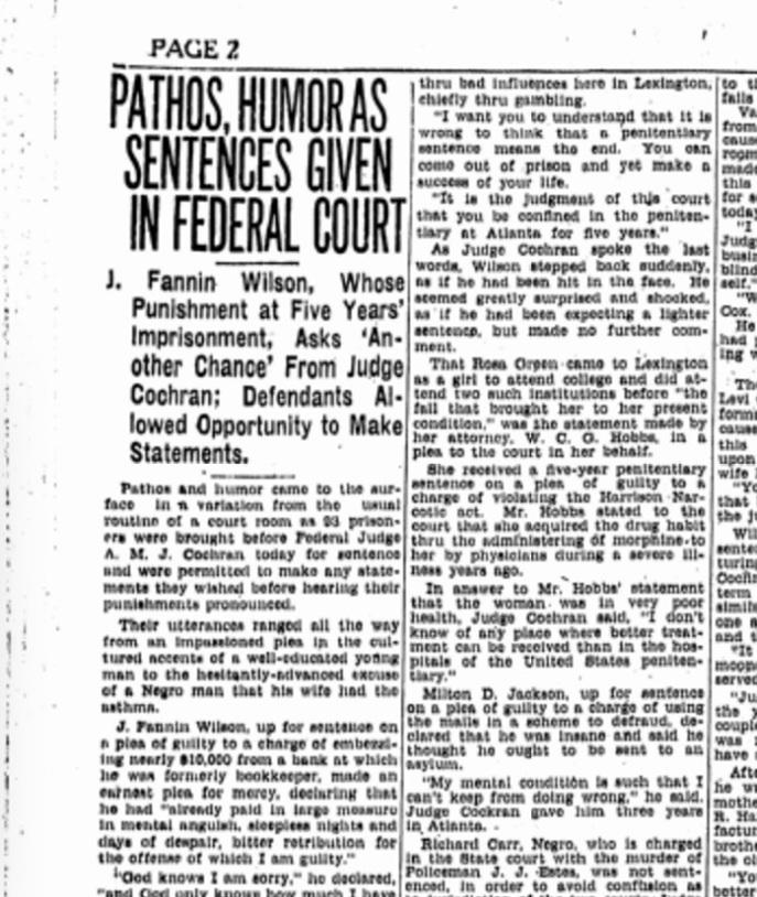 The Lexington Leader, p2, January 19, 1927. Source: Genealogybank.com