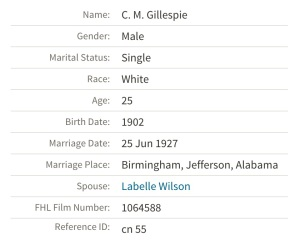 When you click on the spouse's name in both records, it reveals their parents -- and Labelle and Lois have the same parents, according to the record. Source: Ancestry.com