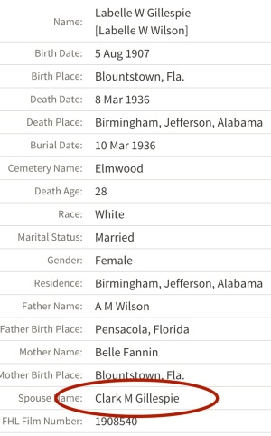 Labelle was not quite 30 years old when she died, according to the Alabama Death Index. Also, the Elmwood Cemetery in Birmingham has only 50 percent of the burials photographed in Find-a-grave; alas, Labelle's has not yet been recorded. Source: Ancestry.com