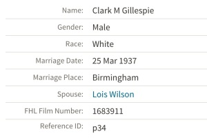 Lois Wilson, bride of Clark, as of March 25, 1937, reported in Alabama Select Marriages database. Source: Ancestry.com