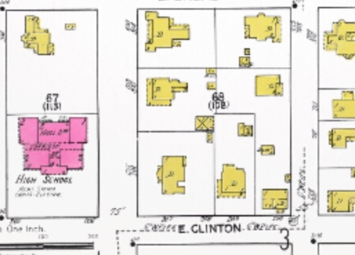 A different orientation of the house, still facing the high school, in 1922. Source: Sanborn Fire Insurance maps, from the University of Florida archive
