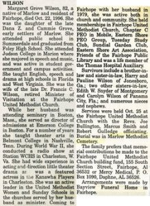 The obituary of Margaret Grove Wilson, from Ancestry.com