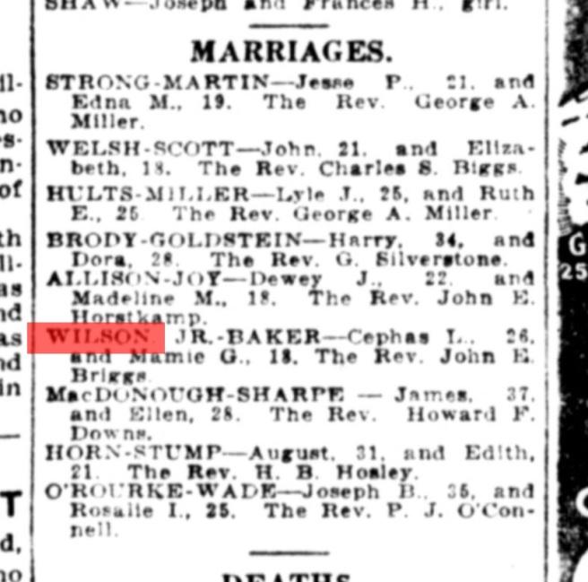 From The Washington Times, February 8, 1922. Source: GenealogyBank.com
