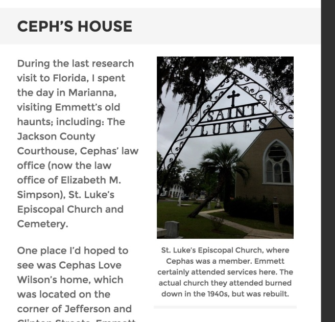 In search of Cephas Love Wilson's house, on Jefferson Street, in Marianna, Florida.