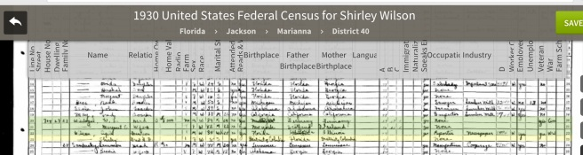 Ceph Jr. and daughter, Shirley, living in Marianna as of the date of this census, April 2, 1930. Source: Ancestry.com