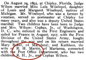 Kathleen's husband was Ira H. Martin. The son was Ira H., Jr. Source: U.S. Census, Florida State Census, Florida Marriages.