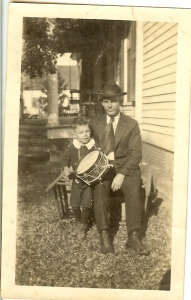 Cephas Love Wilson's son-in-law, Ira Martin, with Ceph's grandson, Ira Jr., in 1917. This was taken in front of Ceph's house, on Jefferson Street. Source: Ancestry.com