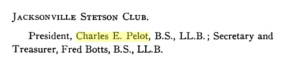 Pelot as President of the Jacksonville Stetson Club, 1911. Source: Google Books