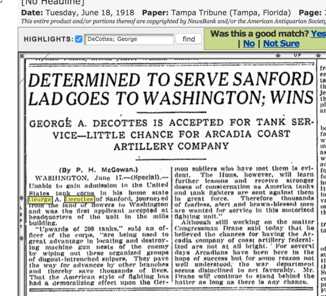 When the local military board said he couldn't join up, DeCottes goes to Washington D.C. and joins anyway. In your face, Sanford recruitment chumps. Source: Genealogybank.Com