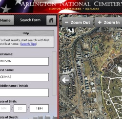 Arlington National Cemetery's search engine. It's nice. Check it out. Source: http://www.arlingtoncemetery.mil/#/