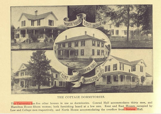 Emmett's dorm, East Hall, is in the upper right hand corner. Hamilton is right below it. Source: Stetson University Archives