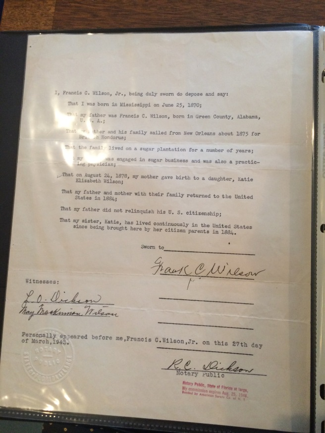This is a deposition signed by Frank C. Wilson, Jr., witnessed by his wife, Mae, in 1945. This document is in in the possession of Katie Wilson Meade's granddaughter, Elizabeth, in Charlottesville. There is a lot of useful detail about Emmett's family in it.