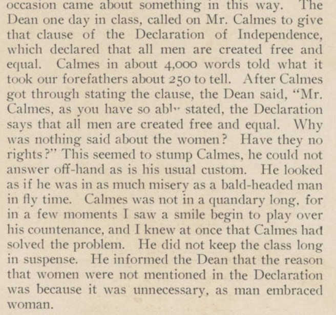 Calmes thinks he's gotten himself out of a jam. Maybe he did; his worldview was common in 1903. Source: Stetson University Archives