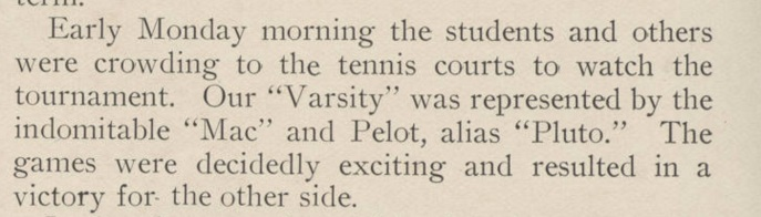 Pelot playing tennis as 'Pluto.' Source: Stetson University Archives